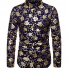 Stand Collar Rose Foil Printing Long Sleeve Shirts