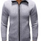 Solid Cotton Zipper Up Mens Cardigan Sweaters