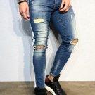 Stylish Hole Patchwork Men Skinny Denim Pants
