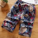 Vintage Printed Elastic Waist Short Pants For Men