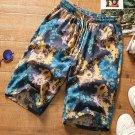 Beach Printing Drawstring Men Straight Half Pants