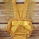 Solid Lace Panel Bow-tied Baby Romper