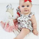 Cute Sleeveless Printed With Bow Baby Rompers
