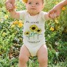 Crew Neck Short Sleeve Sun-flower Printed Romper For Baby