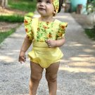 Cute Ruffled Sleeve Flower Printed Baby Romper