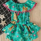 Pom Pom Trim Insects Printed Girls Rompers