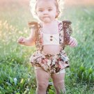 Lace Patchwork Flower Printed One Piece Girls Rompers