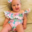 Boat Neck Lace Detail Baby Girl Flower Onesie