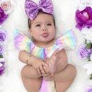 Off Shoulder Iridescent Striped Baby Girls 2 Piece Sets