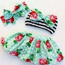 Striped Flower Bow Girl 3 Pieces Outfits