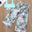 Strap Cropped Top With Tropical Print Pants