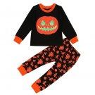 Halloween Pumpkin Kids Two Piece Pants Set