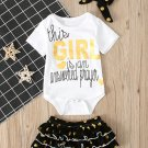 Letter Short Sleeve Romper With Shorts 3 Pieces Sets