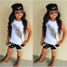 Feather Dots Round Pompon Girl Set With Headband
