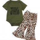 Letter Cotton Romper With Leopard Flare Pants