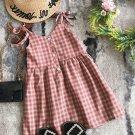 Summer Plaid Tie Shoulder Dress For Girls