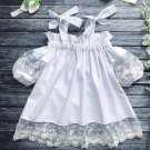 Tie Shoulder Lace Panel White Dresses For Girls