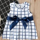 Plaid Binding Bow Baby Girl Sleeveless Dress