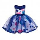 Princess Heart Printed Sleeveless Gauze Girl Dresses