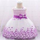 Gauze Embroidered Binding Bow Girls Dress