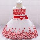Leaf Embroidered Bow Baby Girls Gauze Dress