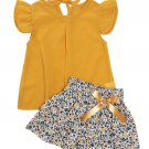 Ruffles Lace Up Floral Girls 2 Pieces Skirt Set