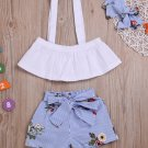 Boat Neck Contrast Color Print Girl 3 Pieces Outfit
