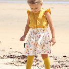 Contrast Color Ruffles Sleeve Baby Girl Flower Outfit