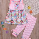 Striped Patchwork Flower Girls 2 Pieces Outfits
