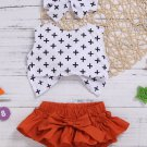 Contrast Color Bow Printing Girls 3 Pieces Outfits