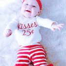Letter Long Sleeve Romper With Striped Pants
