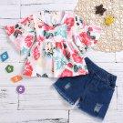 Summer Floral Top Short Jeans Girls Matching Sets