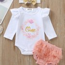 Autumn Long Sleeve Letter With Bow Three Piece