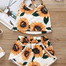 Sunflower Printed Lace Tassel Girls Two Pieces Sets