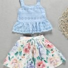 Hollow Out Spaghetti Strap Camisole Girl Clothing Set