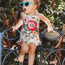 Flower Printed Strap Camisole Girl Clothing Sets