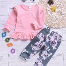 Ruffled Hem Long Sleeve Printed Two Piece Outfits