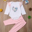 Lace Patchwork Heart Printed Girls Two Piece Sets