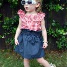 Contrast Color Ruffles Plaid Girl 2 Pieces Skirt Set