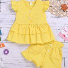Solid Ruffled Cap Sleeve Two Sets For Girls
