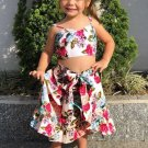 Floral Printed Straps Top With Skirts For Girls