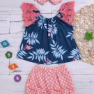 Lace Sleeves Patchwork Printed Dots Girls Two Sets