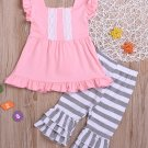 Contrast Color Striped Ruffles Outfits For Girl
