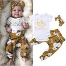 Flower Letter Baby Girl Outfits With Headband