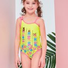 Inclined Shoulder Printed One Piece Swimsuit For Girl