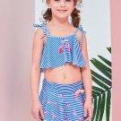 Spaghetti Straps Striped Cartoon Three Piece Girls Swimsuits