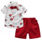 Flower Binding Bow Shirt With Red Elastic Shorts