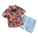 Casual Leaf Print Boys 2 Pieces Outfits
