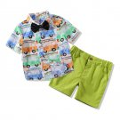 Cartoon Car Binding Bow Patchwork Boys Outfits