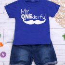 Letter Short Sleeve Tee With Denim Shorts For Boys
